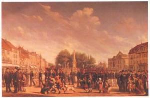 Tableau du Capitaine peintre Henri Blandin de 1886 intitulé ''La place neuve de Vesoul'' (Aujourd'hui, place de la République)